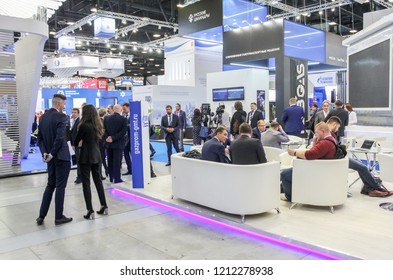St. Petersburg, Russia - 3 October, 2018. Business people in congress center. International Annual Gas Forum in the Expo Forum of St. Petersburg.