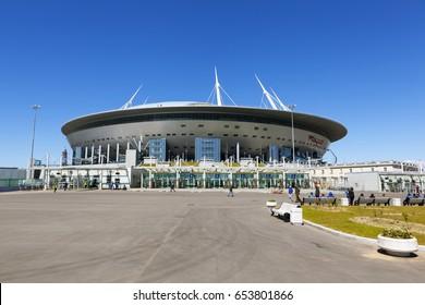 "ST. PETERSBURG, RUSSIA  -  4 JUNE, 2017:  Photo of ""St. Petersburg Arena"", (former ""Zenith Arena"") on the Krestovsky Island."