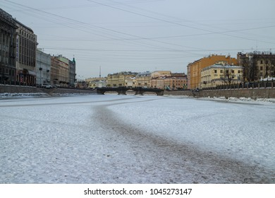 St. Petersburg, Russia, 5 March 2018, Winter in St. Petersburg, frozen river