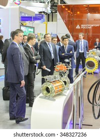 St. Petersburg, Russia - 6 October, 2015.Expo forum. International Gas Forum. Businessmen from the sector of industrial equipment.
