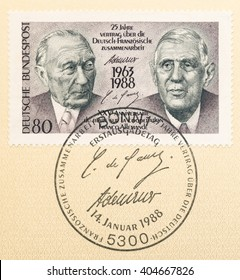 ST. PETERSBURG, RUSSIA - APR 12, 2016: A postmark printed in Germany, dedicated to 25th anniv. Franco-German Cooperation Treaty, shows the Konrad Adenauer and Charles de Gaulle, signatures, circa 1988
