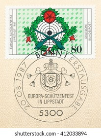 ST. PETERSBURG, RUSSIA - APR 27, 2016: A first day of issue postmark printed in Germany, shows 7th European Riflemans Festival, Lippstadt, Sept. 12-13, circa 1987