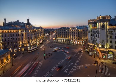 ST. PETERSBURG, RUSSIA - APR 30, 2016: Leo Tolstoy square at night, square was built in early 20th century
