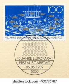 ST. PETERSBURG, RUSSIA - APR 4, 2016: A first day of issue postmark printed in Bonn, Germany, shows Parliamentary Assembly, stars, Council of Europe, 40th Anniv., circa 1989