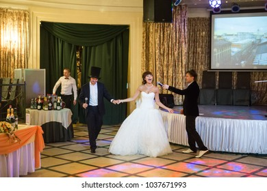 St Petersburg, Russia - April 12, 2017: Wedding Event. People Celebrate a Wedding Day at a Banquet in a Restaurant