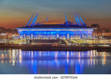 St. Petersburg, Russia - April 13, 2018:  Zenit Arena Stadium built to host the matches FIFA World Cup 2018, night view from above.
