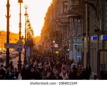 ST. PETERSBURG, RUSSIA - APRIL 13, 2018: View of the famous Nevsky Prospect at sunset.