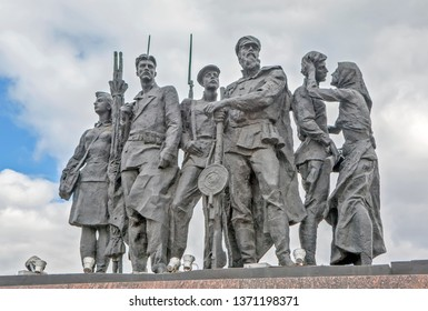 """ST. PETERSBURG, RUSSIA - APRIL 13, 2019: Photo of Sculptural group """"Militias"""". Fragment of the monument to the heroic defenders of Leningrad."""