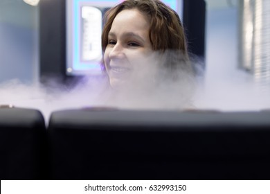 ST. PETERSBURG, RUSSIA - APRIL 13, 2017. Woman takes a cryotherapy treatment during he press tour to Krion enterprise. Founded in 1992, now Krion is exporting cryosaunas to dozens countries