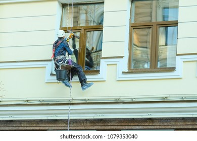 St. Petersburg, Russia - April, 15, 2018: Steeplejack works in St. Petersburg