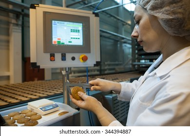 St. Petersburg, Russia - April 15, 2015: The production line for the production of oat biscuits.