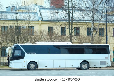 St. Petersburg, Russia - April, 17, 2018: bus on the street of St. Petersburg