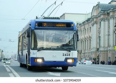 St. Petersburg, Russia - April, 17, 2018: trolleybus on the street of St. Petersburg