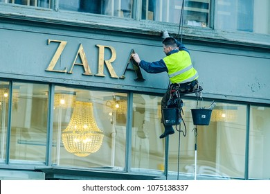 St. Petersburg, Russia - April, 17, 2018: Steeplejack works in St. Petersburg