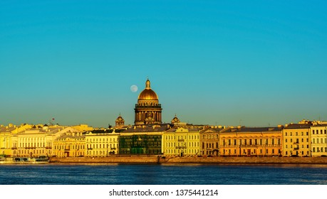 St. Petersburg, Russia, April 18, 2019., beautiful evening view of St. Isaac's Cathedral from Vasilievsky island