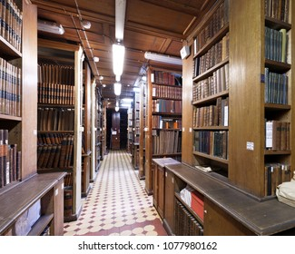 ST. PETERSBURG, RUSSIA - APRIL 20, 2018: Rossica, the collection of foreign publications on the subject of Russia in the book depository of the National Library of Russia during Library Night