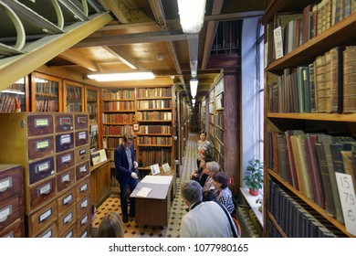 ST. PETERSBURG, RUSSIA - APRIL 20, 2018: Tour to Rossica, the collection of foreign publications on the subject of Russia in the book depository of the National Library of Russia during Library Night
