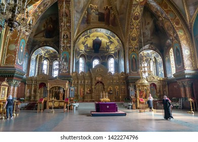 St. Petersburg, Russia - APRIL 26, 2019: Interior of the Church of the Assumption of the Blessed Virgin Marie