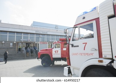 St. Petersburg, Russia - April 4, 2017. Fire services in St. Petersburg eliminate the consequences of the terrorist attack at the metro station Sennaya Ploshchad, which occurred on April 3.