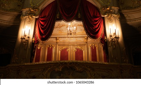 St Petersburg, Russia - Aug 29 2017: The grand balcony at the Yusupov Palace Theater is adorned with candlesticks but without occupants in 2017.