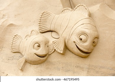 ST. PETERSBURG, RUSSIA - AUGUST 06, 2016: Sand Sculpture Festival in the Peter and Paul Fortress. Based on the cartoon Finding Nemo.