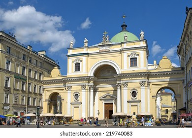 ST. PETERSBURG, RUSSIA - August 08: residents and visitors walk along Nevsky Prospekt past Catholic Church of St. Catherine in Saint Petersburg, Russia, 1782, architect Antonio Rinaldi August 08, 2014