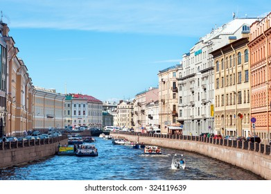 ST PETERSBURG, RUSSIA - AUGUST 08, 2015: Moyka river in a summer day, St Petersburg, Russia