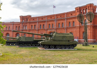 St. Petersburg, Russia - August 11, 2018: Self-propelled artillery. Museum of Artillery and Communication Forces
