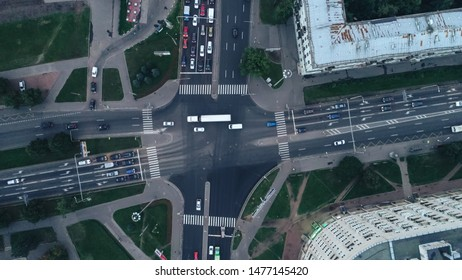 St Petersburg, Russia - August 11, 2019: Aerial Townscape of Saint Petersburg City. Kalininsky District