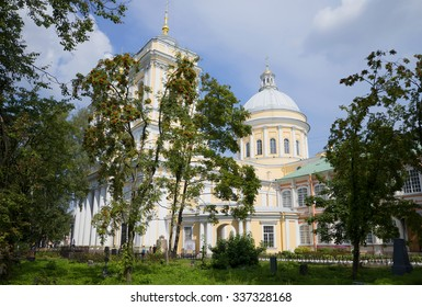 ST. PETERSBURG, RUSSIA - AUGUST 11, 2014: Sunny summer day at Trinity Cathedral. Alexander Nevsky Lavra