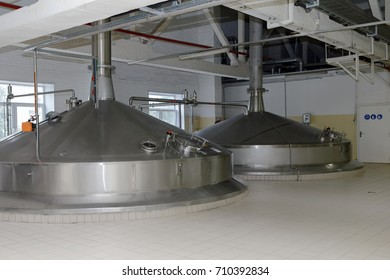 ST. PETERSBURG, RUSSIA - AUGUST 11, 2016: Brewing boilers in the Heineken brewery. It was the first Heineken brewery in Russia, and now it can produce over 5 millions HL of beer per year