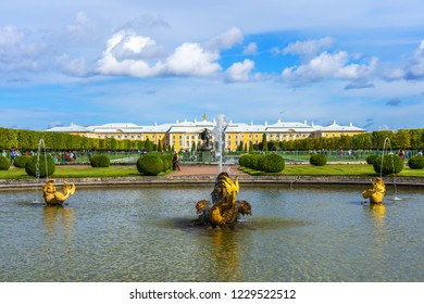 ST. PETERSBURG, RUSSIA - AUGUST 12, 2018: The grounds of the Peterhof Palace, UNESCO world heritage site, with fountains and gardens.