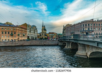 St  Petersburg, Russia - August 13, 2018: Fontanka river in St Petersburg.