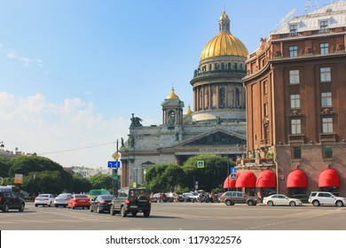 ST. PETERSBURG, RUSSIA - AUGUST 14, 2018: Astoria Hotel and Saint Isaac's Cathedral Summer Day Scene. Luxury 5 Star Rocco Forte Astoria Hotel and Historical Church Architecture Building Outdoors