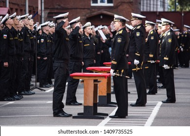 St. Petersburg, Russia - August 15, 2016: military oath of the Baltic fleet sailors, sailors read the text of the oath to officers