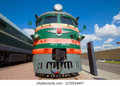 ST PETERSBURG, RUSSIA - AUGUST 16, 2018: Front part of the Soviet electric train ER2 close-up. The Museum of Railways of Russia
