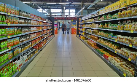 ST. PETERSBURG, RUSSIA - August 17, 2019: Top Russian Supermarket SPAR is one of largest players of retail industry in Russia.