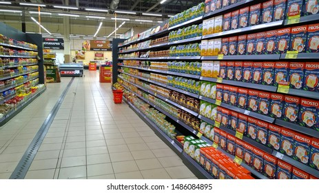 St. Petersburg, RUSSIA - August 17, 2019: Shelves with products in the supermarket  SPAR the largest players of retail industry in Russia. High quality customer service.