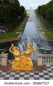 ST PETERSBURG, RUSSIA - AUGUST 2, 2015: Grand cascade at Pertergof Palace. The Petergof palace included in the UNESCO's World Heritage List.