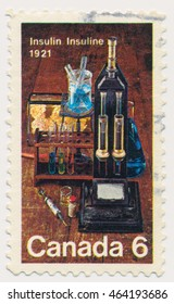 ST. PETERSBURG, RUSSIA - AUGUST 2, 2016: A postmark printed in CANADA, shows Laboratory Equipment Used for Insulin Discovery by Dr. Frederick Banting and Dr. Charles Best, 50th anniv., circa 1971
