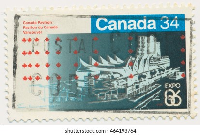ST. PETERSBURG, RUSSIA - AUGUST 2, 2016: A postmark printed in CANADA, shows Canada Pavilion, EXPO 86, Vancouver, May 2-Oct., circa 1986