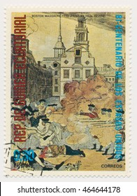 ST. PETERSBURG, RUSSIA - AUGUST 2, 2016: A postmark printed in Equatorial Guinea, shows painting fragment, The Bloody Massacre in King-Street, 1770 Boston, print by Paul Revere (1735-1818), circa 1975