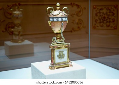 ST. PETERSBURG, RUSSIA - AUGUST 20, 2018: The Duchess of Marlborough Faberge egg is displayed in the Faberge Museum in Shuvalov Palace in August, 2018 in St. Petersburg, Russia.