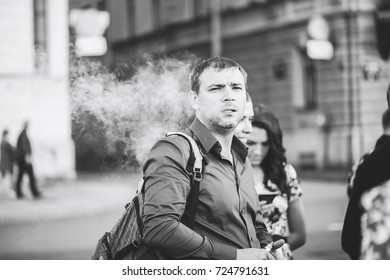 ST PETERSBURG, RUSSIA - AUGUST 20, 2016: the use of Electronic Cigarette
