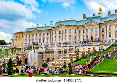 St. Petersburg, Russia - August 2018: Grand Cascade of Peterhof Palace