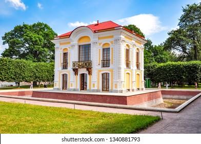 St. Petersburg, Russia - August 2018: Hermitage pavilion in Peterhof Lower park