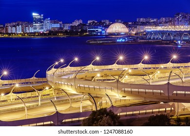 St. Petersburg, Russia - August 22, 2018: view of the western high-speed diameter with sound screens, illuminated by night lights in Saint Petersburg.