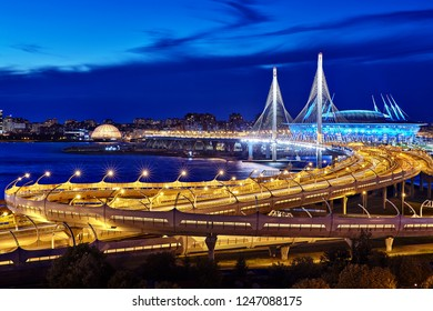 St. Petersburg, Russia - August 22, 2018: Panorama of St. Petersburg - view of the cable-stayed bridge, the western high-speed diameter and stadium St. Petersburg in blue hour.