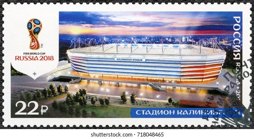 ST. PETERSBURG, RUSSIA - AUGUST 23, 2017: A stamp printed in Russia shows stadium in Kaliningrad, Arena Baltika, series Stadiums, 2018 Football World Cup Russia, 2017