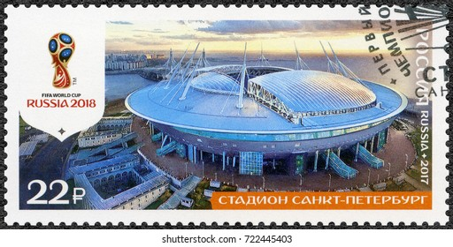 ST. PETERSBURG, RUSSIA - AUGUST 23, 2017: A stamp printed in Russia shows stadium in St Petersburg, The Krestovsky Zenit Arena Saint Petersburg Stadium,  2018 Football World Cup Russia, 2017